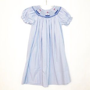 Rosalina Sailboat Smocked Bishop Dress Blue Size 4